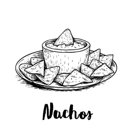 Hand drawn sketch style nachos with guacamole sauce on plate. Traditional Mexican food. Corn chips. Retro style. Element for Mexican restaurant menu designs. Vector illustration isolated on white background. Ilustração
