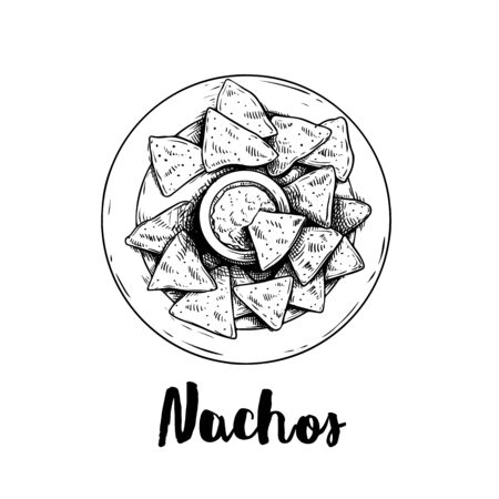 Hand drawn sketch style nachos with guacamole sauce on plate. Top view. Traditional Mexican food. Corn chips. Retro style. Element for Mexican restaurant menu designs. Vector illustration isolated on white. Ilustração