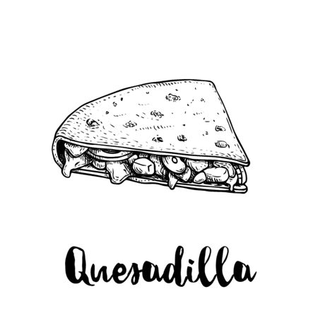 Fresh quesadilla. Hand drawn sketch style illustration. Mexican traditional fast food. Vector drawing. Isolated on white background. Çizim