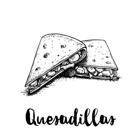 Fresh quesadillas. Hand drawn sketch style illustration. Mexican traditional fast food. Vector drawing. Isolated on white background.