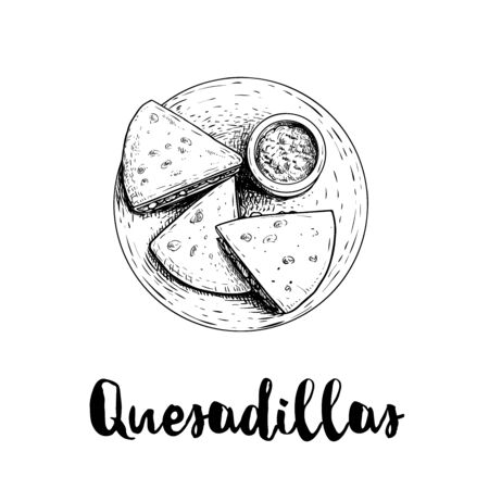 Fresh quesadillas on plate with guacamole sauce. Top view. Hand drawn sketch style illustration. Mexican traditional fast food. Vector drawing. Isolated on white background.