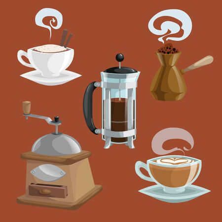 Cartoon coffee objects set. Cup of coffee with cinnamon sticks, turkish teapot cezve, french press pot, coffee mill. Vector illustrations isolated on brown background.  イラスト・ベクター素材