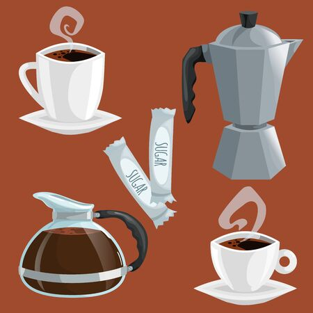 Cartoon coffee objects set. Cup of coffee, italian coffee geiser pot, glass pot with black plastic handle. Vector illustrations isolated on brown background.  イラスト・ベクター素材