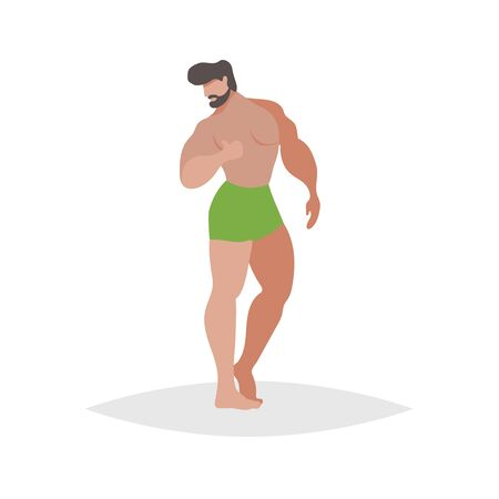 Athletic guys posing on the beach. Flat trendy design illustration of bearded man in green boxers. Vector drawing isolated on white background.
