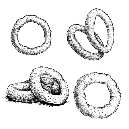 Hand drawn sketch style roasted onion rings set. Street fast food vector illustrations collection. Isolated on white background.  イラスト・ベクター素材