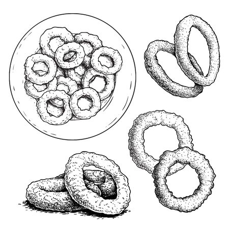 Hand drawn sketch style roasted onion rings set. Street fast food vector illustrations collection. Isolated on white background. Illustration