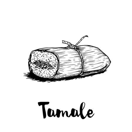 Hand drawn sketch style traditional mexican food tamale. Retro craft mexican cuisine vector illustration. Best for restaurant menu designs, flyers and banners.