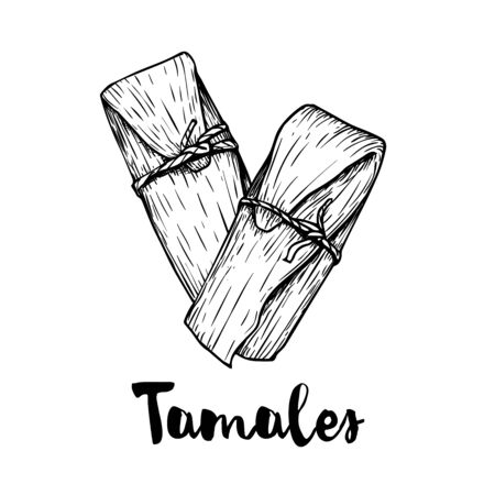 Hand drawn sketch style traditional mexican food tamales. Top view.  Retro craft mexican cuisine vector illustration. Best for restaurant menu designs, flyers and banners. Illustration