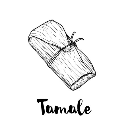 Hand drawn sketch style traditional mexican food tamale. Top view.  Retro craft mexican cuisine vector illustration. Best for restaurant menu designs, flyers and banners.