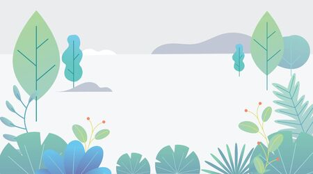 Flat design fantasy landscape. Trendy plants, mountains and nature in minimal style. Bushes, trees, flowers, leaves. Vector illustration. Illustration