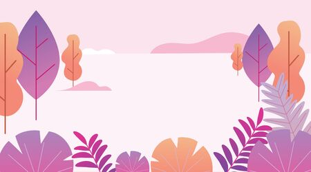 Flat design fantasy landscape in pink and orange colors. Trendy plants, mountains and nature in minimal style. Bushes, trees, flowers, leaves. Vector illustration. Illustration