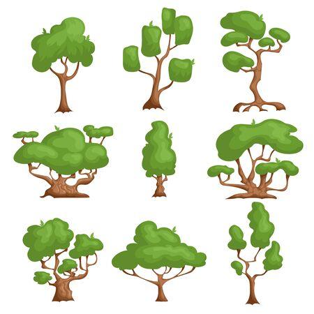 Cartoon-Bäume eingestellt. Verschiedene Pflanzenarten im Comic-Stil. Naturphantasieelemente. Vektorillustrationen, Ikonen lokalisiert auf weißem Hintergrund.