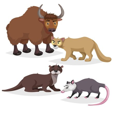 Cute cartoon North America and Europe animals set. Yak, otter, puma cougar and opossum. Vector drawings for kids. Isolated on white background.