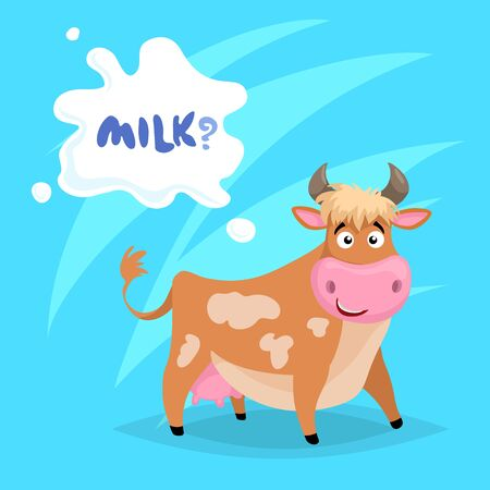 Cute funny ginger cow with milk splash frame. Cartoon vector illustration on blue comic background. Farm animal. Illustration