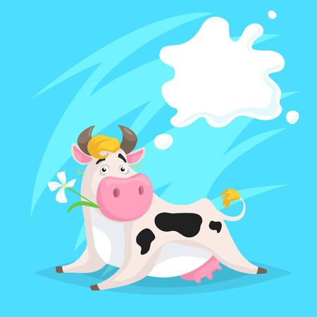 Cute funny spotted cow with milk splash frame. Lying and chews flower. Cartoon vector illustration on blue comic background. Farm animal.