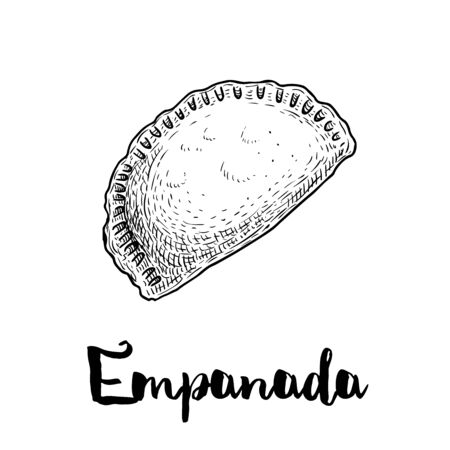 Hand drawn sketch style empanada. Typical Latino America and spanish fast food. Vector illustration isolated on white background. Best for menu designs, packages.