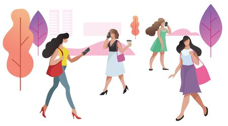 Women in different poses in urban public park. City landscape. Talking phone, walking. Modern flat trendy design. Vector illustration.