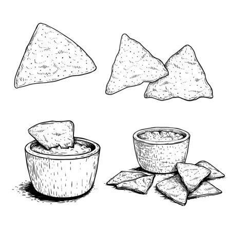 Nachos sketch style set. Single, group and with sauce nachos. Traditional mexican food. Hand drawn. Retro style. Vector illustration for menu designs. Isolated on white background.