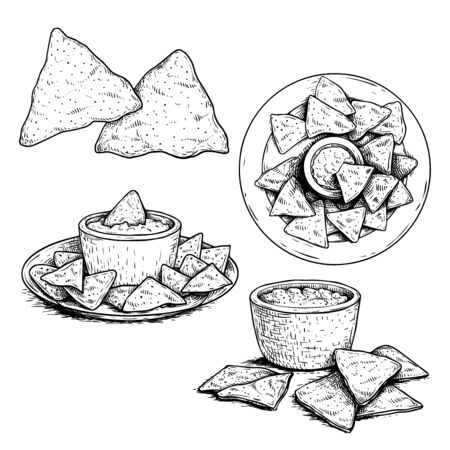 Nachos sketch style set. Single, group on plate and with sauce nachos. Top view. Traditional mexican food collection. Hand drawn. Retro style. Vector illustration for menu designs. Isolated on white background. Illustration