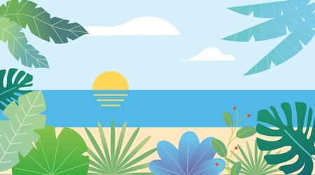 Tropical seascape flat fantasy view background template. Exotic plants and palms. Sun and clouds. Trendy design vector illustration.