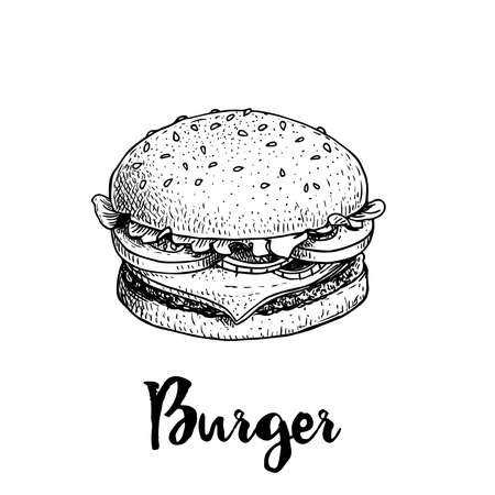 Hand drawn sketch style burger. Fast, street food. Cheeseburger with lettuce, tomato, onion and beef cutlet. Retro vintage style drawing. Vector illustration for menu and package designs.   Ilustracja