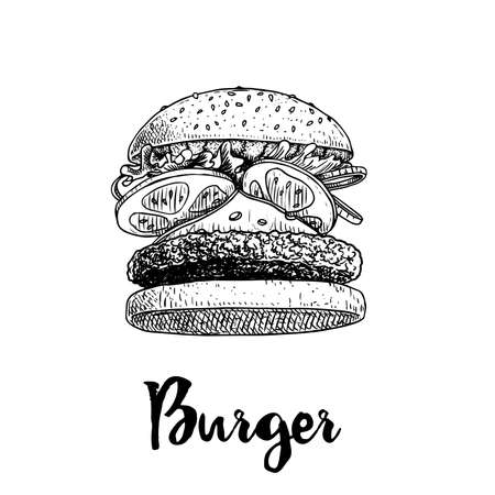 Hand drawn sketch style burger flying ingredients. Fast, street food. Cheeseburger with cucumber,  lettuce, tomato, onion and beef cutlet. Retro vintage style drawing. Vector illustration for menu and package designs.