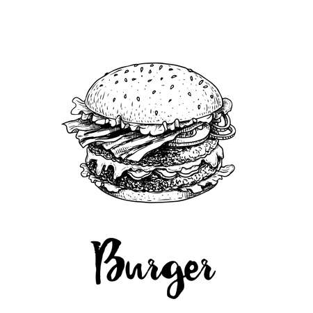 Hand drawn sketch style big burger. Fast, street food. Cheeseburger with bacon fried slices, lettuce, tomato, onion and beef cutlet. Retro vintage style drawing. Vector illustration for menu and package designs.