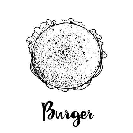 Hand drawn sketch style top view of burger. Fast, street food. Cheeseburger with lettuce, tomato, onion and beef cutlet. Retro vintage style drawing. Vector illustration for menu and package designs.
