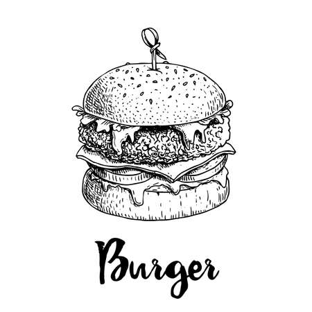 Hand drawn sketch style burger with wooden stick. Fast, street food. Cheeseburger with fried chicken, lettuce, tomato, onion, mayonnaise and ketchup. Retro vintage style drawing. Vector illustration for menu and package designs.