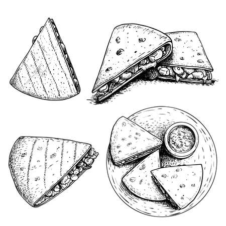 Hand drawn sketch style quesadillas set. Traditional mexican fast food. Single, group and top view on plate with sauce. Vector illustrations.