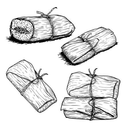 Hand drawn sketch style tamales set. Single and group. Traditional mexican food. Vector food collection. Isolated on white background. 일러스트