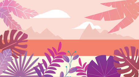 Fantasy sunset seascape background. Simple flat style design. Palm leaves and exotic tropical stylized plants. Template for summer and vacation posters and flyers. Vector illustration.