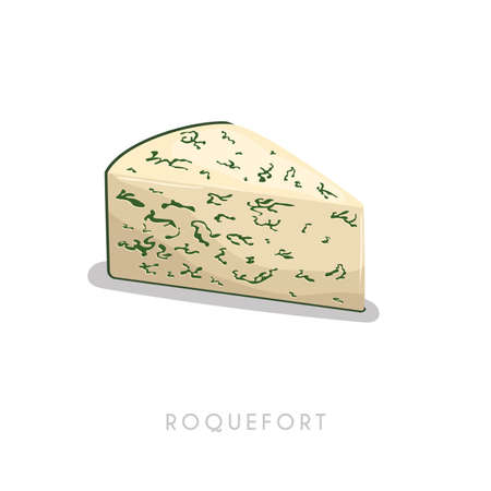 Piece of roquefort cheese. Cartoon flat style cheese segment. Fresh diary smelly milk product. Vector illustration single icon isolated on white background. 矢量图像