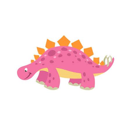 Cartoon dinosaur stegosaurus. Flat cartoon style drawing. Best for kids dino party designs. Prehistoric Jurassic period character. Vector illustration isolated on white. 向量圖像