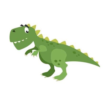 Cartoon dinasaur t-rex. Flat cartoon style tyrannosaurus drawing. Best for kids dino party designs. Prehistoric Jurassic period character. Vector illustration isolated on white.