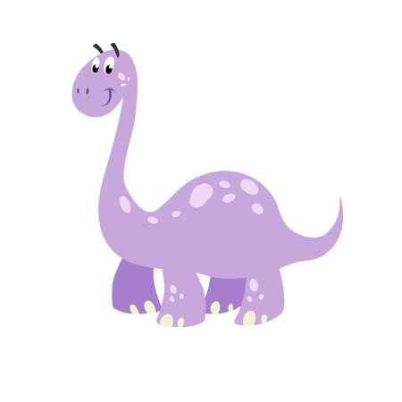 Cartoon dinosaur brachiosaurus. Flat cartoon style diplodocus drawing. Best for kids dino party designs. Prehistoric Jurassic period character. Vector illustration isolated on white. 向量圖像