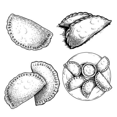 Hand drawn sketch style empanadas. set Top view on plate with sauce, single and group meals. Typical Latino America and spanish fast food. Vector illustration isolated on white background. Best for menu designs, packages.