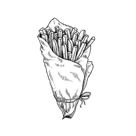 French fries in craft paper cone. Sketch style hand drawn illustration. Fried potato. Fast food retro artwork. Vector image Isolated on white.