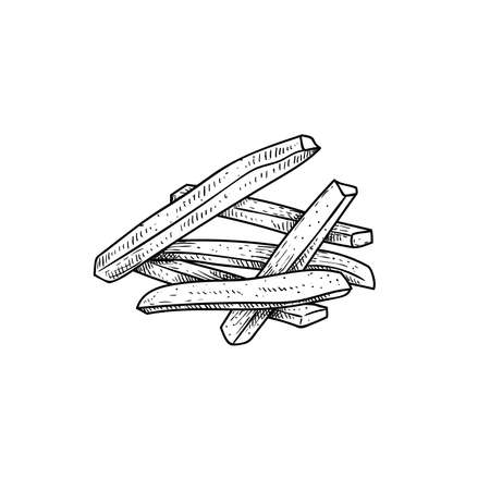 French fries bunch. Sketch style hand drawn illustration. Fried potato. Fast food retro artwork. Vector image Isolated on white.