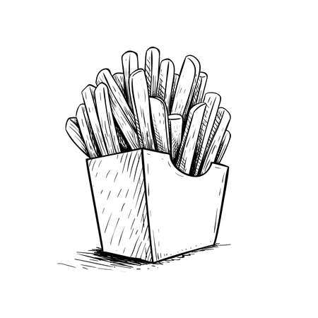 French fries in paper box. Sketch style hand drawn illustration. Fried potato. Fast food retro artwork. Vector image Isolated on white. Stockfoto - 152424291