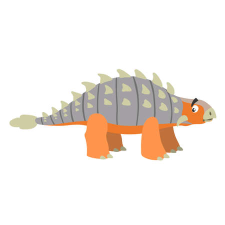 Cartoon ankylosaurus. Flat simple style herbivore dinosaur. Jurassic world animal. Vector illustration for kid education or party design elements. Isolated on white background. Stock Illustratie