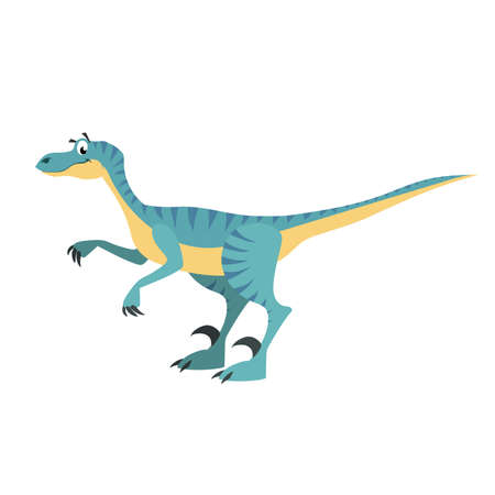 Cartoon velociraptor. Flat simple style carnivore dinosaur. Jurassic world predator animal. Vector illustration for kid education or party design elements. Isolated on white background.