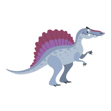 Cartoon spinosaurus. Flat simple style carnivore dinosaur. Jurassic world predator animal. Vector illustration for kid education or party design elements. Isolated on white background. Stock Illustratie