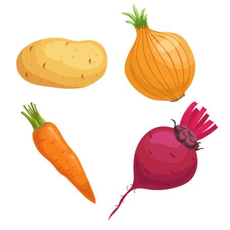 Set of root vegetables. Potato, onion, carrot and beet. Cartoon simple design vector illustrations. Fresh farm veggies isolated on white background. Illusztráció