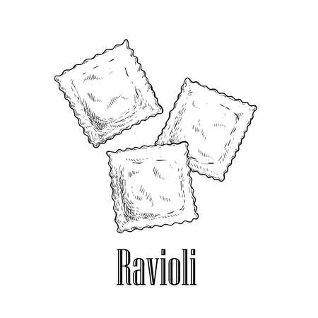 Italian pasta ravioli with meat or cheese inside. Hand drawn sketch style illustration of traditional italian food. Best for menu designs and packaging. Vector drawing isolated on white background. 向量圖像