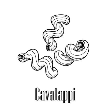Italian pasta cavatappi (chelletnani). Hand drawn sketch style illustration of traditional italian food. Best for menu designs and packaging. Vector drawing isolated on white background. 向量圖像