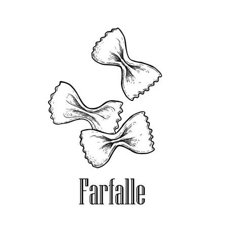 Italian pasta farfalle. Hand drawn sketch style illustration of traditional italian food. Best for menu designs and packaging. Vector drawing isolated on white background. 向量圖像