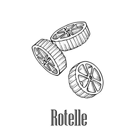 Italian pasta rotelle. Hand drawn sketch style illustration of traditional italian food. Best for menu designs and packaging. Vector drawing isolated on white background.