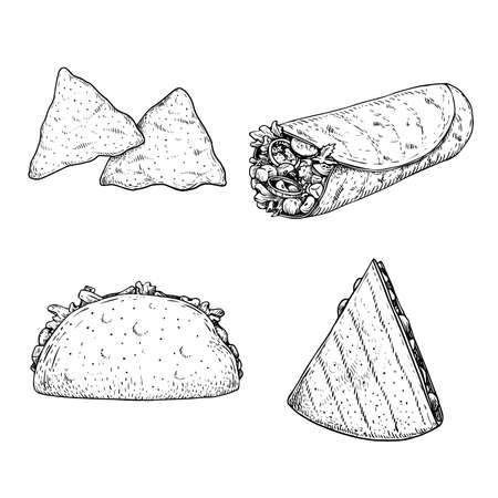 Hand drawn sketch style mexican food set. Nachos, burrito, taco and quesadilla. Traditional Mexico food in vintage handmade style. Vector illustration for menu designs and package.