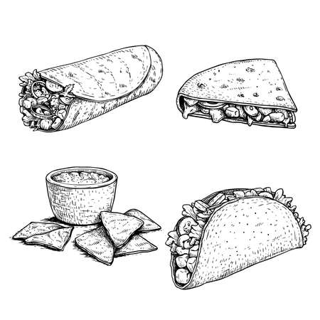 Hand drawn sketch style mexican food set. Nachos with sauce, burrito, taco and quesadilla. Traditional Mexico food in vintage handmade style. Vector illustration for menu designs and package.